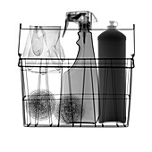 Wire basket full of kitchen cleaning equipment, X-ray