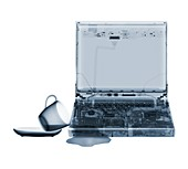 Laptop with tea spill, X-ray