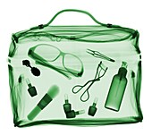 Various personal accessories in bag, X-ray
