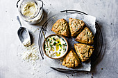 Herb and cheese scones with garlic dip