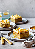 Lemon sheet cake with cream cheese icing and bee pollen