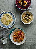 Various risottos (with hummus, with beetroot, with mushroom and with tomatoes)