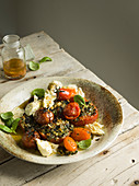 Roasted tomato salad with basil and mozzarella