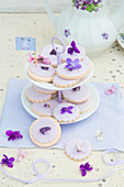 Violet biscuits on cake stand