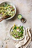 Quinoa salad with cucumber and radish