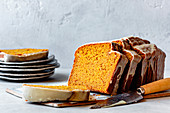 Gluten free pumpkin bread cut into slices.