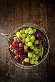 Bunch of Red and Green Grapes in a metal platter