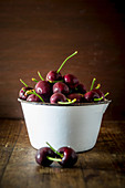 Cherries in Enamel Bowl