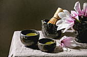 Still life with matcha tea and a tea stirrer (Japan)