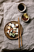 Cubed silk tofu with chilli, ginger, chives and soy sauce (Japan)