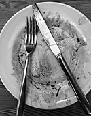 Dirty plate with cutlery