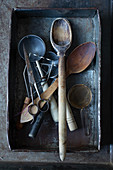 Various vintage kitchen utensils