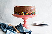 Round cake with chocolate frosting and edible sequins on a pink cake stand.