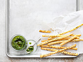 Pesto with homemade grissini