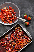 Rhubarb ragout with strawberries and raspberries