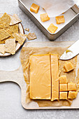 Homemade creamy caramel and sesame seed brittle