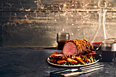 Ale-glazed beef fillet with a crispy onion crust Christmas beef