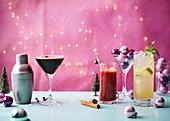 Christmas Cocktails Espresso shrub martini pomegranate and vermouth mulled wine mojito cooler