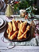 Panierte Pastinaken als weihnachtliche Gemüsebeilage