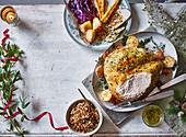 Roast turkey crown with Kiev crumb