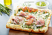 Asparagus, parmesan and proscuitto puff pastry tart