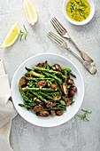 Sauteed mushrooms, asparagus, lemon zest and herbs
