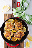 Roasted chicken thighs with lemon and herbs