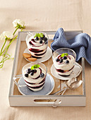 Mascarpone with sponge-biscuits and blueberries
