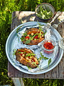 Grilled sweet potatoes with chickpeas and harissa