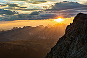 Scenic view sunset over majestic Dolomites Mountains, Italy