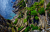 View from above winding cliff path above ocean, Island of Capri, Italy