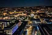 Illuminated cityscape at night, Stuttgart, Baden-Wuerttemberg, Germany