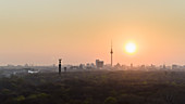 Golden sunset over Berlin cityscape and Television Tower, Germany
