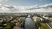 Sunny, scenic Berlin cityscape and Spree River, Germany