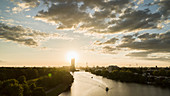 Sunset over Berlin and Spree River, Germany