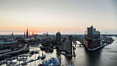 Scenic view Hamburg cityscape and Elbe River at sunset, Germany