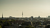 Heinrich Hertz Tower and Hamburg cityscape at sunset, Germany