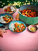 Hähnchenragout koreanische Art mit Reis