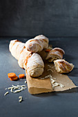 Root bread with carrots and mozzarella