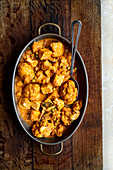 Matar Paneer with Cauliflower and Butter Naan