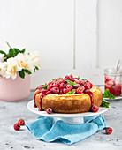 New York cheese cake with raspberries