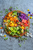 A colourful rainbow salad