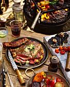 BBQ-Steak mit Grillgemüse
