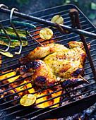 BBQ-Spatchcock-Hähnchen auf dem Grillrost