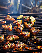 Sweet chilli chicken wings on BBQ