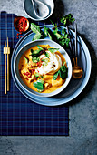 Thai chicken curry soup with noodles