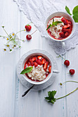 Almond milk rice with strawberry compote