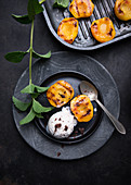 Vegan tonka bean ice cream with grilled peaches
