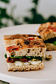 Focaccia sandwich with dried tomatoes