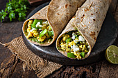 Wraps with crumbly paneer and vegetables